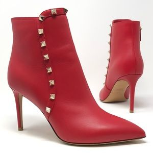 Valentino Rockstud Pointy Toe Ankle Bootie